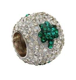 Green Shamrock Silver Crystal Bead