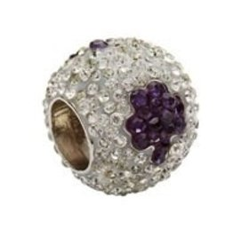 Silver Purple Shamrock Crystal Bead