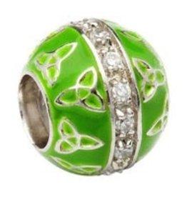 Green Enamel Trinity CZ Bead