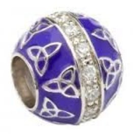 Purple Enamel Trinity CZ Bead