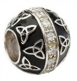 Black Enamel Trinity CZ Bead