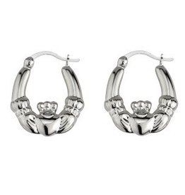 S/S Claddagh Hoop Earrings