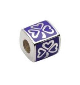 Sterling Silver Purple Enamel Shamrock Bead