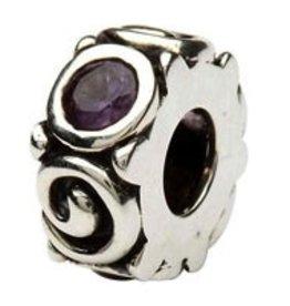 Silver Spiral June Birthstone Bead