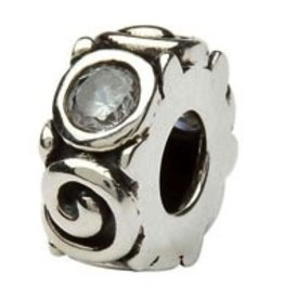 Silver Spiral April Birthstone Bead