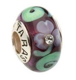 Murano Shamrock and Spiral Purple Glass Bead