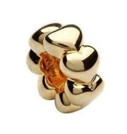Silver Gold Plate Love Heart Bead<br /> Silver Gold Plate Love Heart Bead