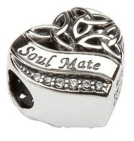 Silver Heart Shaped Trinity Knot Soul Mate Bead