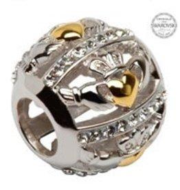 Silver Claddagh Bead Embellished w/ Swarovski Crystals