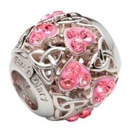 Heart Trinity Bead Encrusted w/ Pink Swarovski Crystals