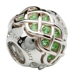 Silver Celtic Knot Bead Encrusted w/ Peridot Swarovski Crystals