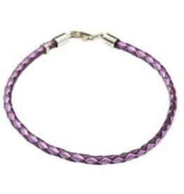 Purple Leather Bracelet 7""