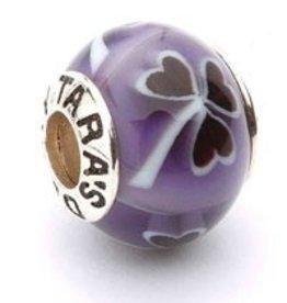 Silver Purple Shamrock Murano Glass Bead