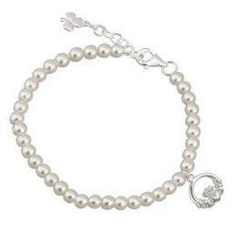 Communion Pearl & Claddagh Bracelet