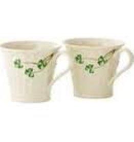 Belleek Shamrock Mugs, Set of 2