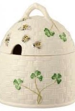 Belleek Shamrock Honey Pot