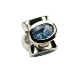 Sterling Silver Blue Topaz/December Birthstone Bead