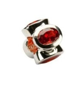 Sterling Silver Garnet/January Birthstone Bead