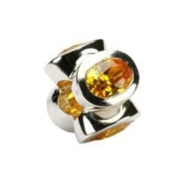 Sterling Silver Yellow Topaz/November Birthstone Bead