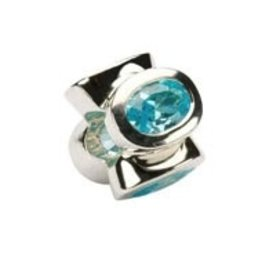 Sterling Silver Aqua/March Birthstone Bead