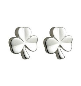 Sterling Silver Kids Shamrock Stud Earrings