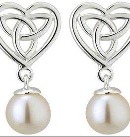 S/S Fresh Water Pearl Trinity Heart Stud Earrings