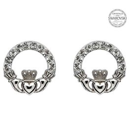 S/S Swarovski Claddagh Stud Earrings