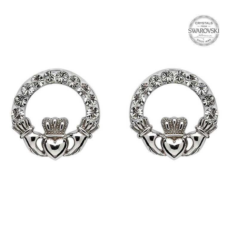 S/S Swarovski Claddagh Stud Earrings