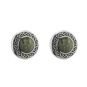 S/S Connemara Marble Round Celtic Stud Earrings