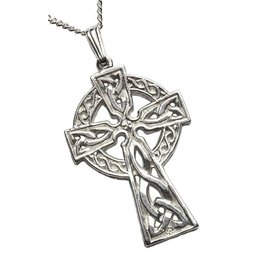 "Boru Jewelry Silver Double Sided Cross, 22"" Chain"