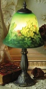 Reverse Hand Painted Shamrock Lamp