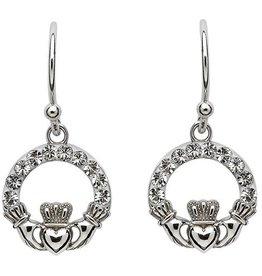 S/S Swarovski Claddagh Earrings