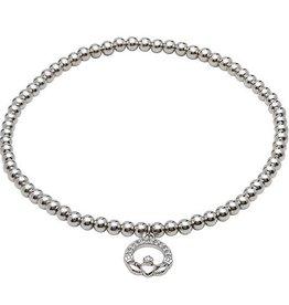 S/S Swarovski Claddagh Charm Bracelet