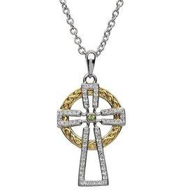 S/S GP Peridot Swarovski Celtic Cross Necklace