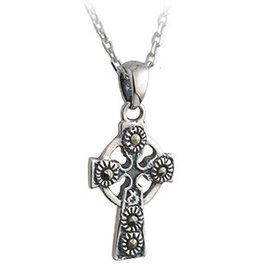 S/S Marcasite Celtic Cross Necklace