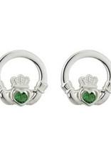 S/S Green Crystal Claddagh Stud Earrings