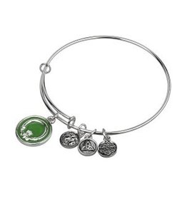 Silver Tone Enamel Claddagh Bangle