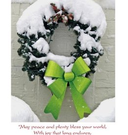 Irish Christmas Card - Snowy Green Wreath - Boxed Set of 10