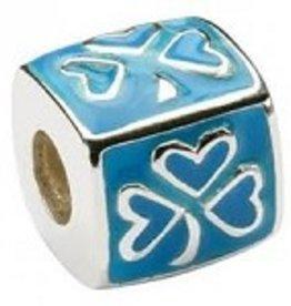 Blue Enamel Shamrock Bead