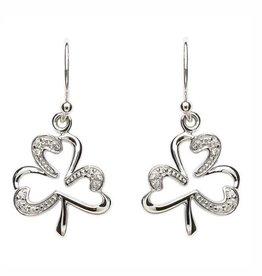 S/S CZ Set Shamrock Earrings