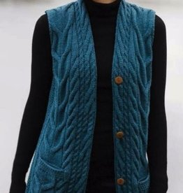 Aran Woollen Mills Unlimited Long Sleeveless Cardigan