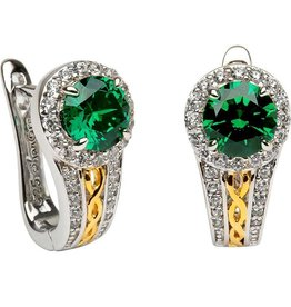 S/S Round Halo Green/CZ Earrings