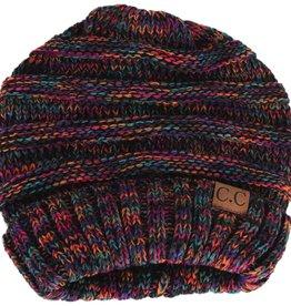 Multi Knit Oversized Slouch Beanie, Rainbow
