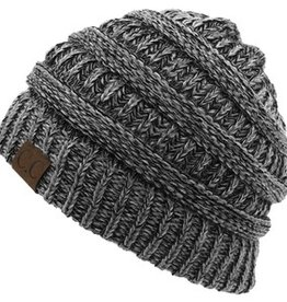Multi Knit Beanie Hat, Black Multi