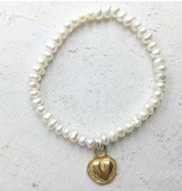 Pearly Girls Child's Elastic Bracelet with Gold Plated Heart