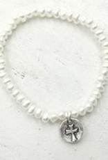 Pearly Girls Child's Elastic Bracelet with Pewter Cross