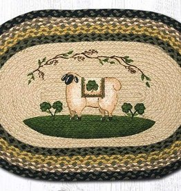 Capitol Earth Rugs Sheep/Shamrock Oval Patch Rug, 20x30 in.