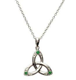 S/S Emerald/Diamond Trinity Pendant