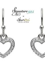 S/S Swarovski Heart Drop Earrings