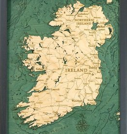 Michael Enterprises Inc. / WoodChart Ireland 3-D Nautical Wood Map, 16x20in.
